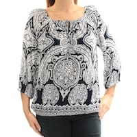 INC Womens White Printed Long Sleeve Keyhole Top  Size: L