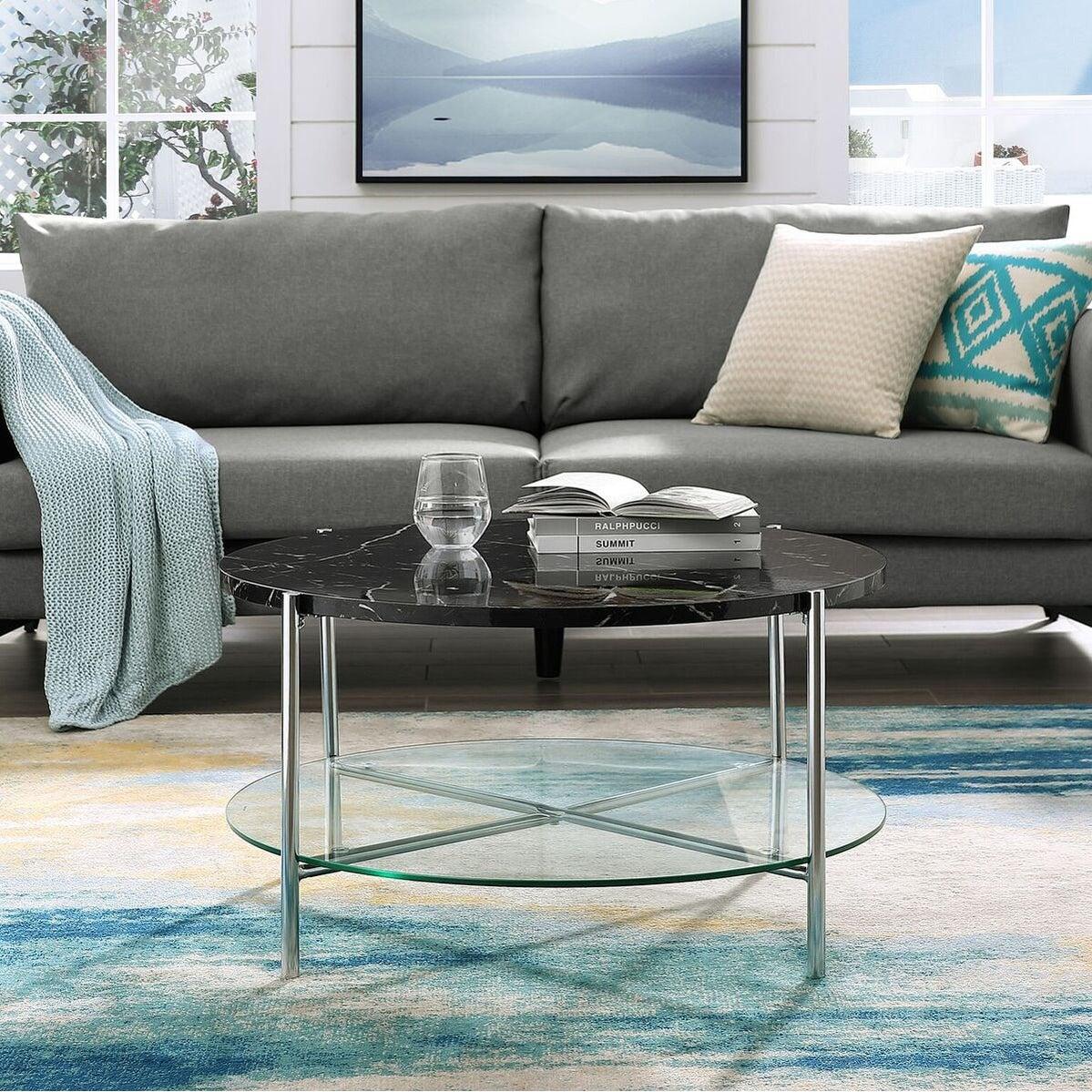 - Black Coffee Table Glass Top With Shelf Wood Legs Modern Living