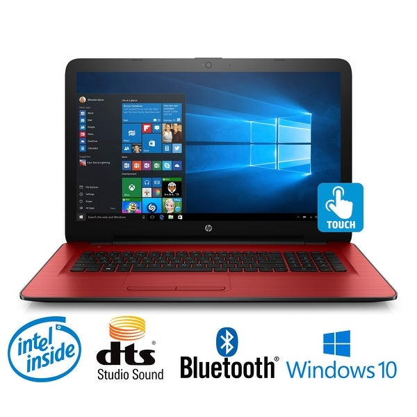 "HP 17-x025ds Intel N3710 Quad-Core, 8GB, 17.3"" Touchscreen, Win 10 Notebook (Certified Refurbished) - Red"