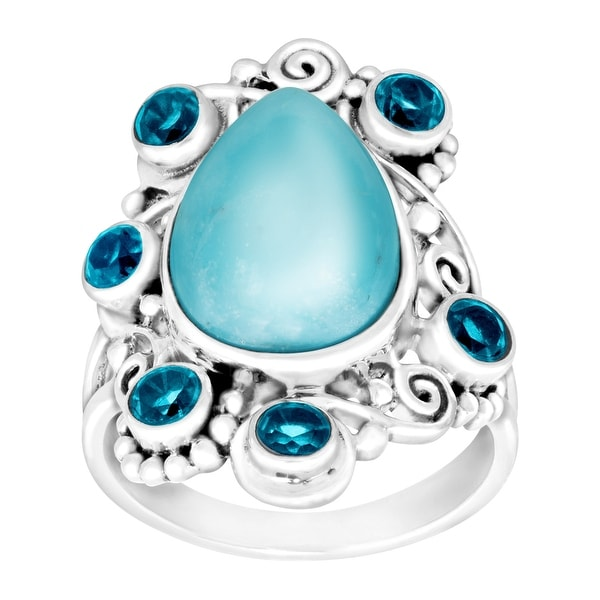 Sajen Natural Sleeping Beauty Turquoise & Paraiba Quartz Ring in Sterling Silver - Blue