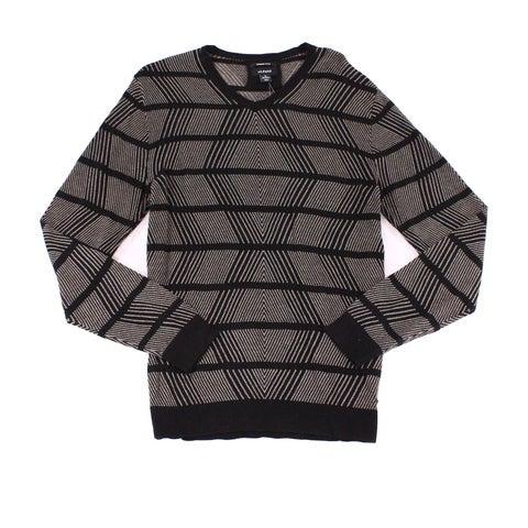 Alfani Black Mens Size XL Diamond Woven V-Neck Knitted Sweater