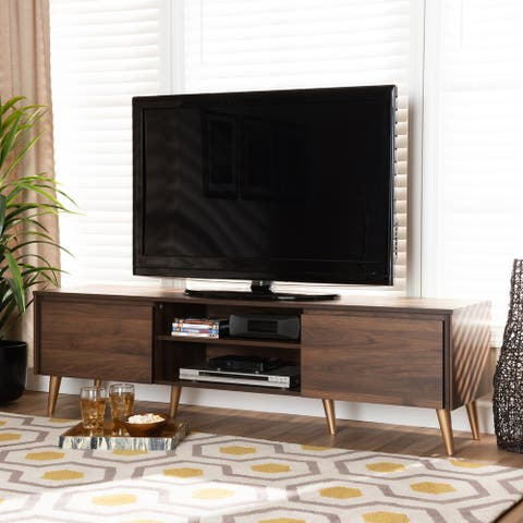 Landen Mid-Century Modern Walnut Brown and Gold Finished Wood TV Stand