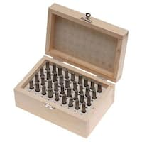 Beadsmith 36 Piece Letter & Number Punch Set For Stamping Metal 1/8 Inch 3mm (1 Set W/ Wood Case)
