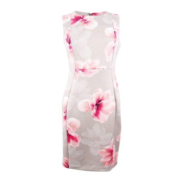 f2be08d9 Shop Calvin Klein Women's Floral Scuba Sheath Dress - Khaki Multi - On Sale  - Free Shipping Today - Overstock - 27370360