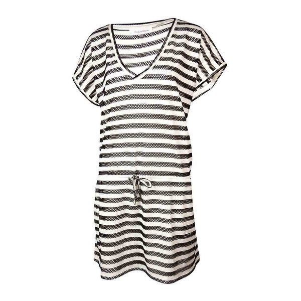 5f3513d9ab1a0 Shop Calvin Klein Womens Plus Size Striped Crochet Cover-Up - black milk -  Free Shipping On Orders Over  45 - Overstock - 21531966