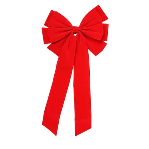 """10"""" x 22"""" Red 10-Loop Velveteen Christmas Bow Decoration"""