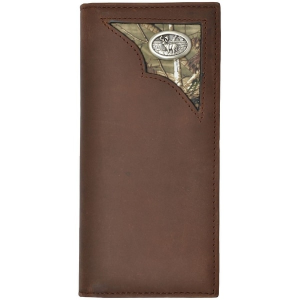 Badger Western Wallet Mens Leather Rodeo Deer Concho Brown - One size