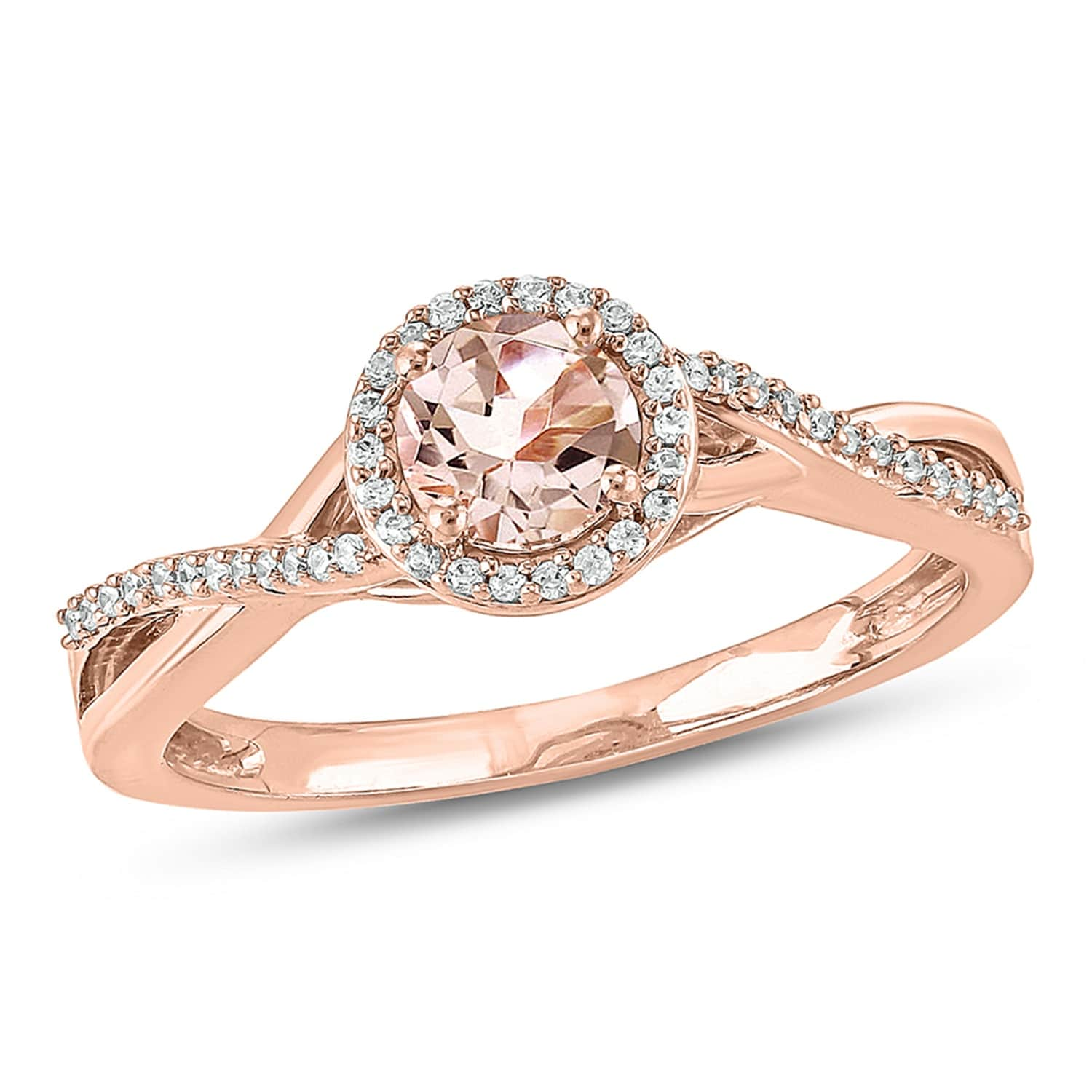 Diamond Wedding Band in 10K Pink Gold G-H,I2-I3 Size-5.25 1//10 cttw,