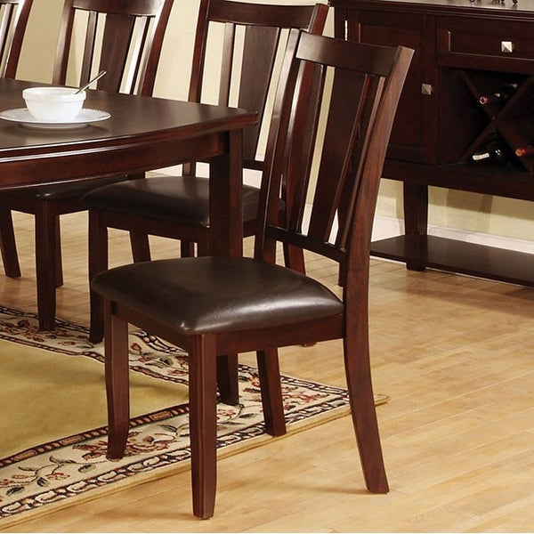 Transitional Side Chair, Cushion, Expresso Finish, Set Of 2