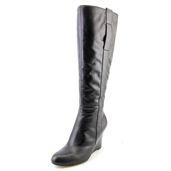 Nine West Oran Women Round Toe Leather Black Knee High Boot
