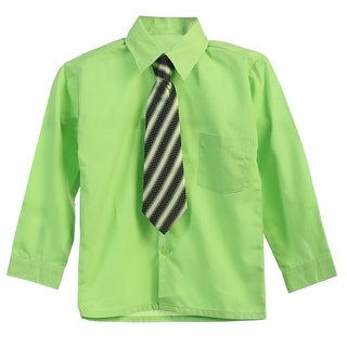 Little Boys Lime Green Tie Long Sleeve Button Special Occasion Dress Shirt 2T-7