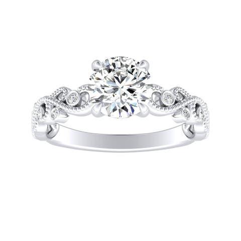 Auriya 14k Gold 1ct TW Vintage Moissanite and Diamond Engagement Ring 1/10cttw