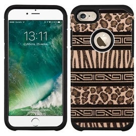 Insten Brown/ Black Zebra Hard PC/ Silicone Dual Layer Hybrid Rubberized Matte Case Cover For Apple iPhone 7