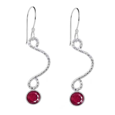 Ruby Brass Round Dangle Earrings by Orchid Jewelry
