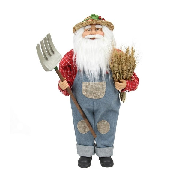 """18"""" Country Heritage Santa Claus Holding a Sheaf of Wheat Christmas Decoration - BLue"""