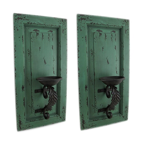 Shop Distressed Green Wood and Metal Wall Sconce Set of 2 ... on Wood And Metal Wall Sconces id=21807