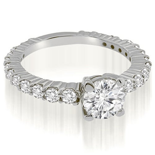 1.15 cttw. 14K White Gold Round Cut Diamond Engagement Ring