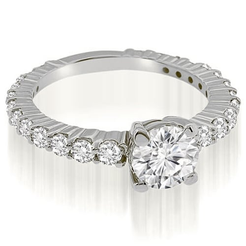 1.65 cttw. 14K White Gold Round Cut Diamond Engagement Ring