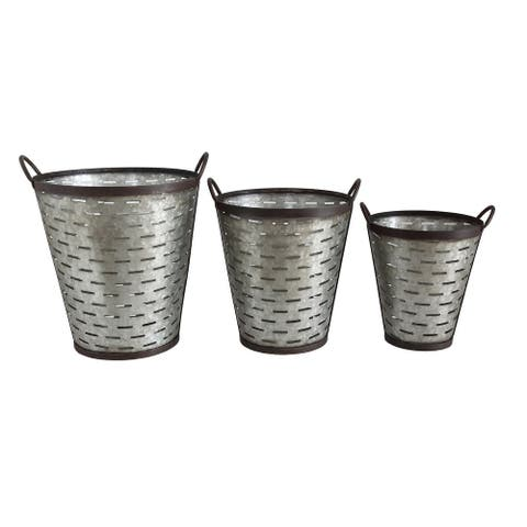 Iron Olive Buckets with Handles (Set of 3 Sizes)