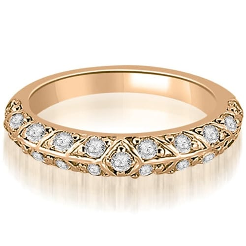 0.63 cttw. 14K Rose Gold Antique Round Cut Diamond Wedding Band