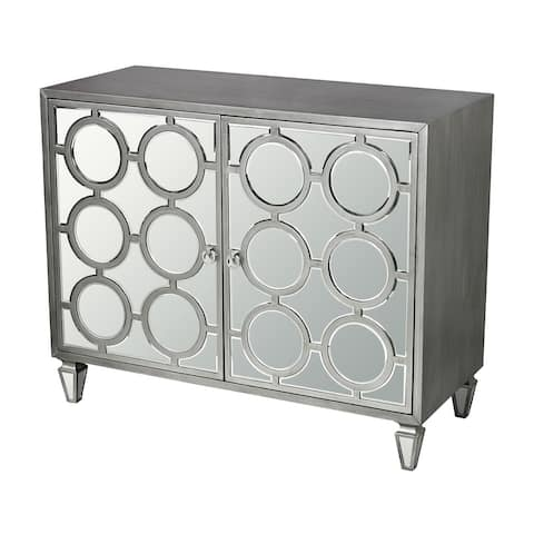 """42"""" Clear Mirror and Silver Two-Doors Platinum Ring Cabinet"""