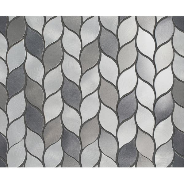 Tilegen Leaf Shape 1 25 X 2 75 Aluminum Metal Mosaic Tile In Silver Gray Wall Tile 10 Sheets 11sqft Overstock 27973502