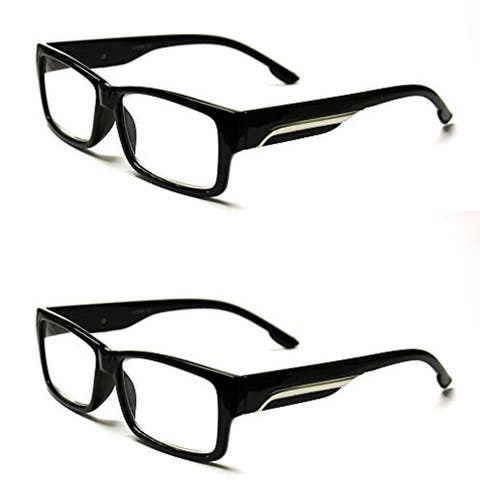 Classic Rectangle Reading Glasses 2 Pair Pack - Black