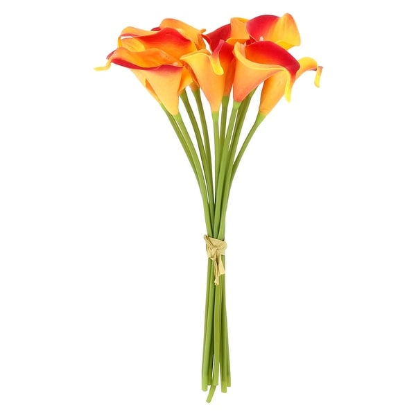 Home Wedding Party Decor Calla Lily Artificial Flowers Bouquet Yellow Red 10 Pcs