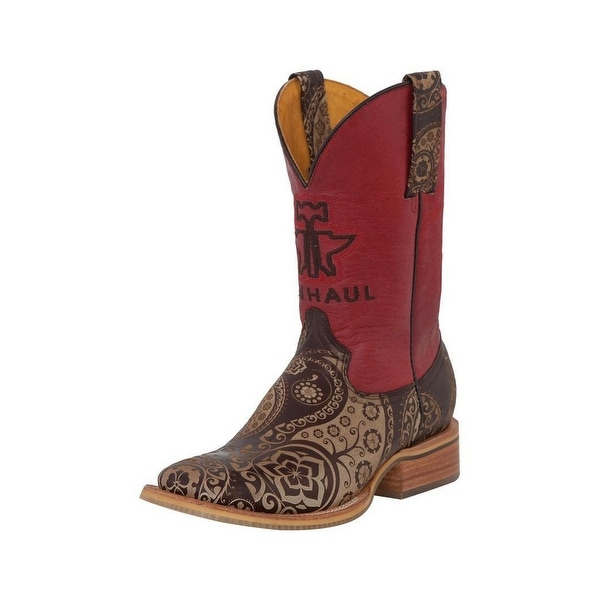 Tin Haul Western Boots Womens Paisley Rock Tan