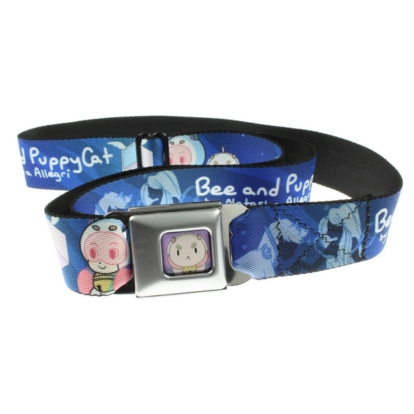 Bee & Puppycat Seatbelt Belt - Main Characters w/ Text Logo-Holds Pants Up