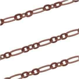 Antiqued Copper Plated Long And Short Chain 3x5mm - Bulk By The Foot