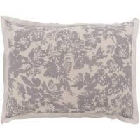 Battleship Grey and Cool Gray Elegant Blossom Dreams Linen Decorative King Sham