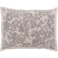 Battleship Grey and Cool Gray Elegant Blossom Dreams Linen Decorative Sham