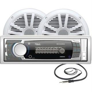 """Boss Audio MCK1308WB.6 AM/FM Mechless Receiver Combo Kit w/ MR6W 6.5"""" Full Range Marine Speakers"""