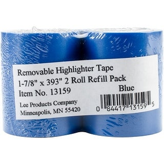 "Lee Products Removable Highlighter Tape 1-7/8""X393"" 2/Pkg-Blue"