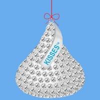 "12 Chocolate Shop Jeweled Hershey's Silver Kiss Christmas Ornaments 2.75"""