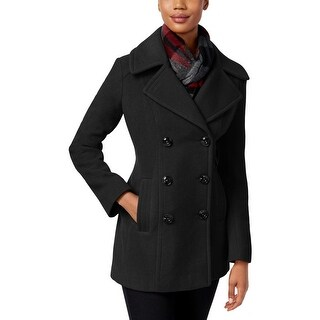 London Fog Womens Petites Pea Coat Double-Breasted Lined - pxs