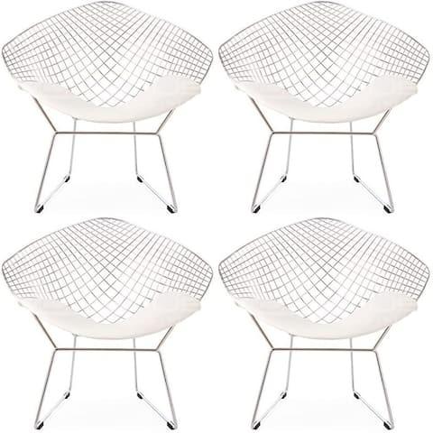 Diamond Metal Accent Chair - White with White Cushion (set of Four)