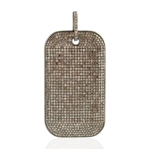 Artisan Sterling Silver Micro Pave Diamond Pendant Jewelry