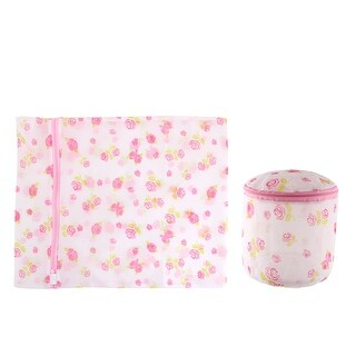 Laundry Nylon Rose Pattern Zippered Clothes Socks Underpants Washing Bag 2 in 1