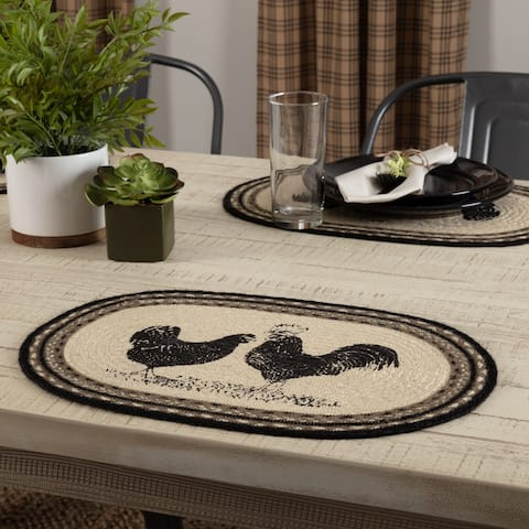 Sawyer Mill Charcoal Poultry Jute Placemat Set of 6 12x18 - Placemat 12x18