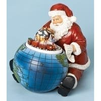 "6.5"" Red and Blue Musical Rotating Santa Claus with Globe Tabletop Christmas Figure"
