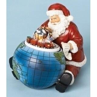 "6.5"" Amusements Musical Rotating Santa Claus with Globe Christmas Figure"
