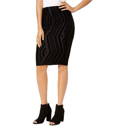 Bar III Women's Burnout Pencil Skirt, Noir (L) - Large