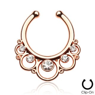 Floral Round with Gems Non-Piercing Septum Hanger (Sold Ind.)