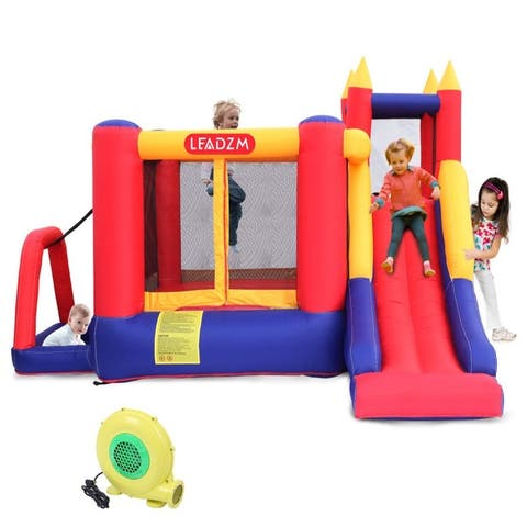 Leadzm Kids Safety Three Play Areas Inflatable Bounce House Jumper Castle Slide with 450 Watt Blower
