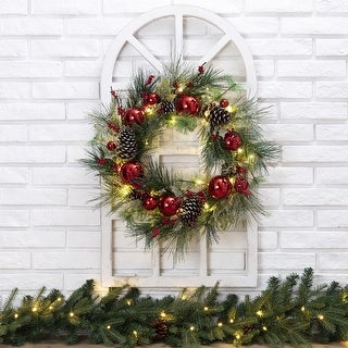 """Link to Glitzhome 24"""" LED Pre-Lit Greenery Berry Holly Pine Cone Ornament Wreath Similar Items in Christmas Decorations"""