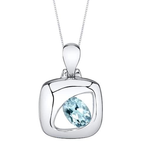 Oravo Aquamarine Sterling Silver Sculpted Pendant Necklace - Blue