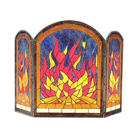 Tiffany-Style 3-panel Fireplace Screen
