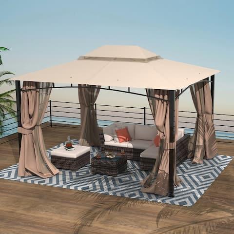 Amarantos Patio Gazebo with Mosquito Netting Outdoor Gazbeo Canopy 10x12 Backyard Double Roof Vented